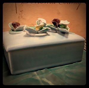 Vintage Blue Ceramic Trinket Box w/ Applied Irises